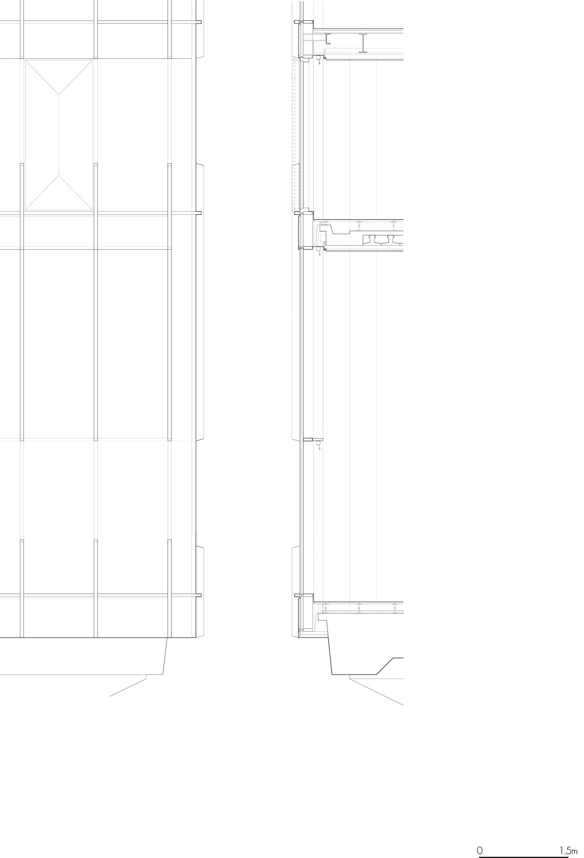 <p>Geveldetail: verbinding van de nieuwe vliesgevel met originele gebouwstructuur</p>