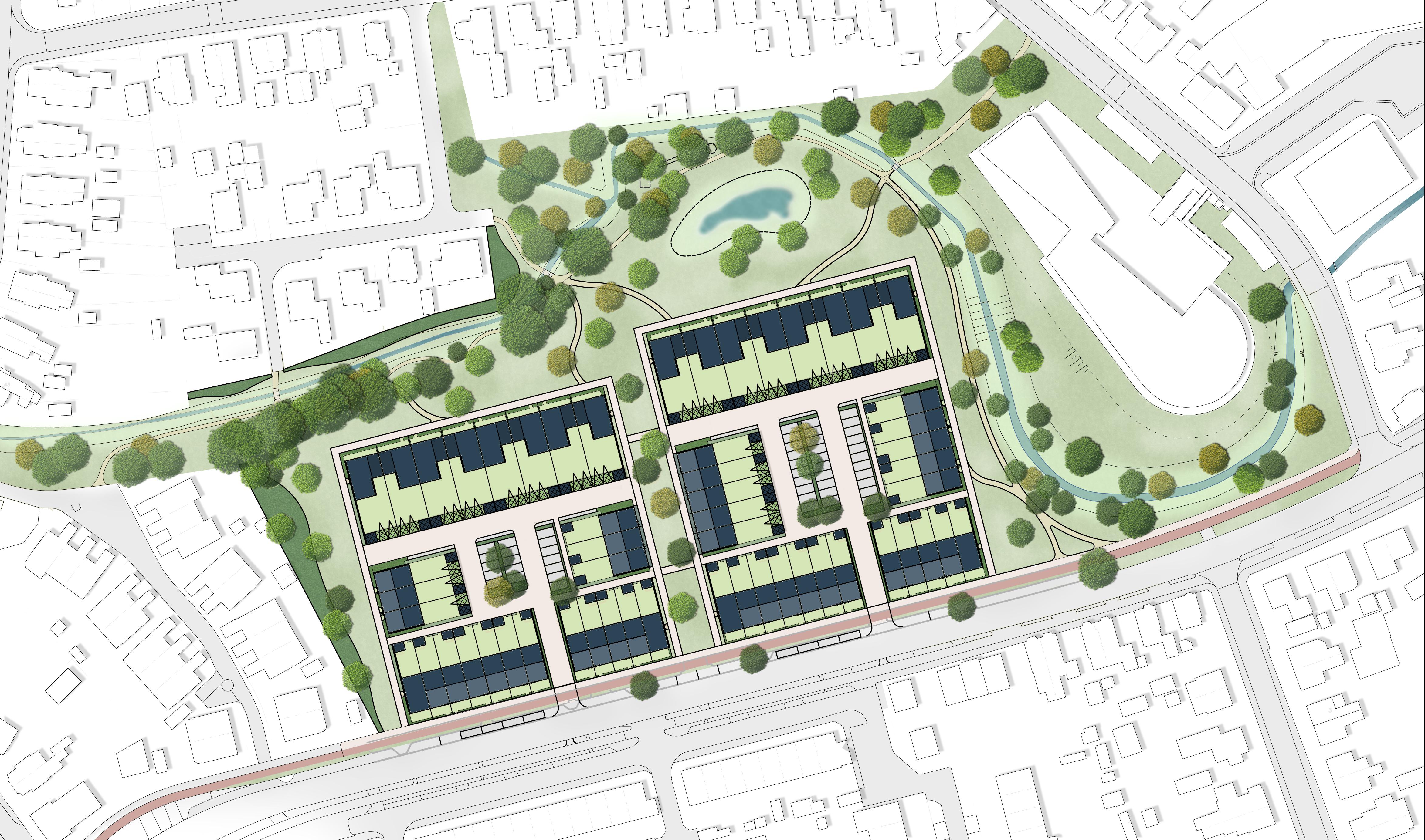 <p>Stedenbouwkundig plan Spartahof Apeldoorn MTD landschapsarchitecten</p>