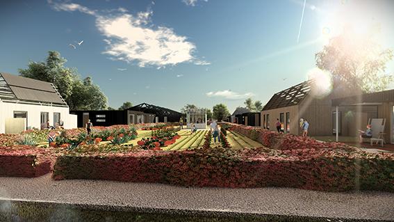 <p>Verplaatsbare sociale woningbouw rond een gedeeld erf met schuren. Beeld: Faro Architecten</p>