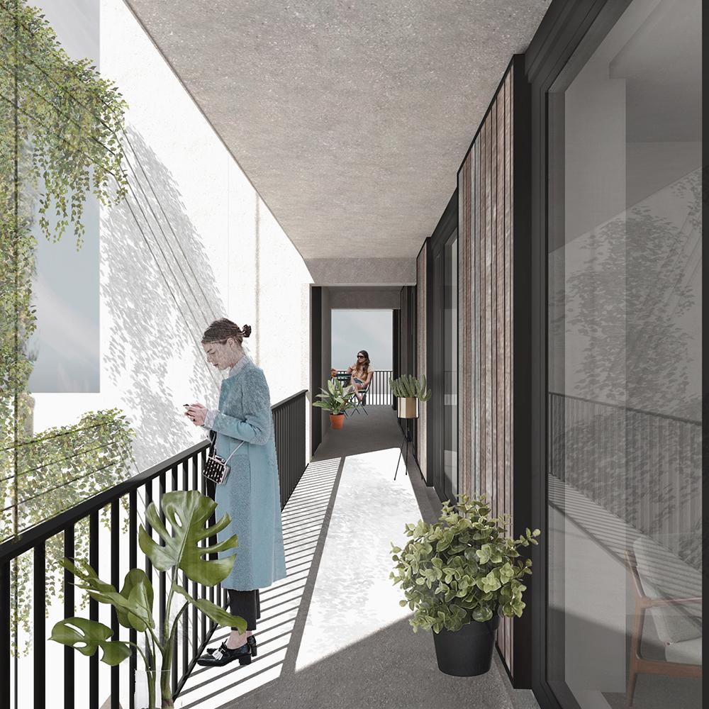<p>De groen ingerichte &#8216;street in the sky&#8217; geeft toegang tot de appartementen</p>