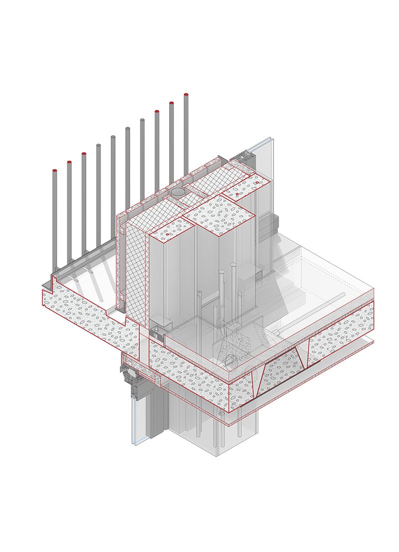 <p>Vloeren zijn dun gedimensioneerd dankzij prefabricage en scheiding tussen drager en installaties</p>