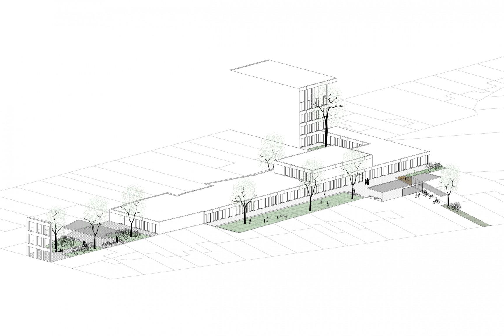 <p>visualisering_Xaveriuscollege Borgerhout, META architectuurbureau</p>