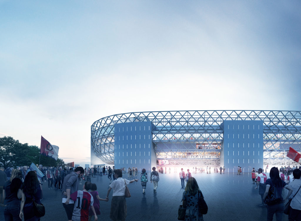 OMA_Feyenoord_city-side. Beeld OMA