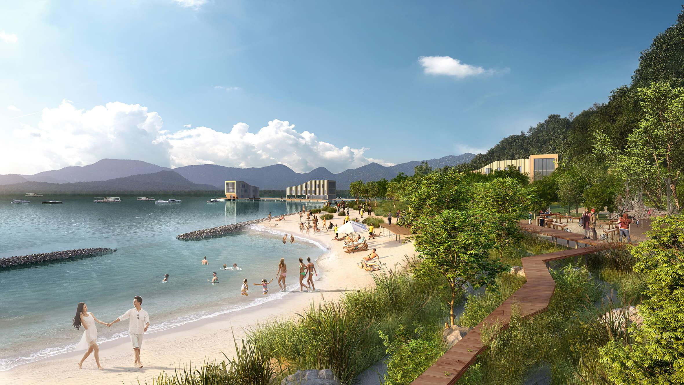 <p>Triple Dike Strategy voor  oostkust Shenzhen Bay China. Beeld KCAP en FELIXX </p>