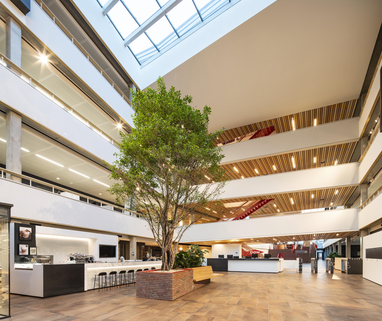 <p>Centraal gelegen bruggen verbinden de kantoorruimtes die zich aan weerszijden van het gebouw bevinden. Ze verdelen de grote open ruimte in twee afzonderlijke atria &#8211; foto Frank Hanswijk</p>