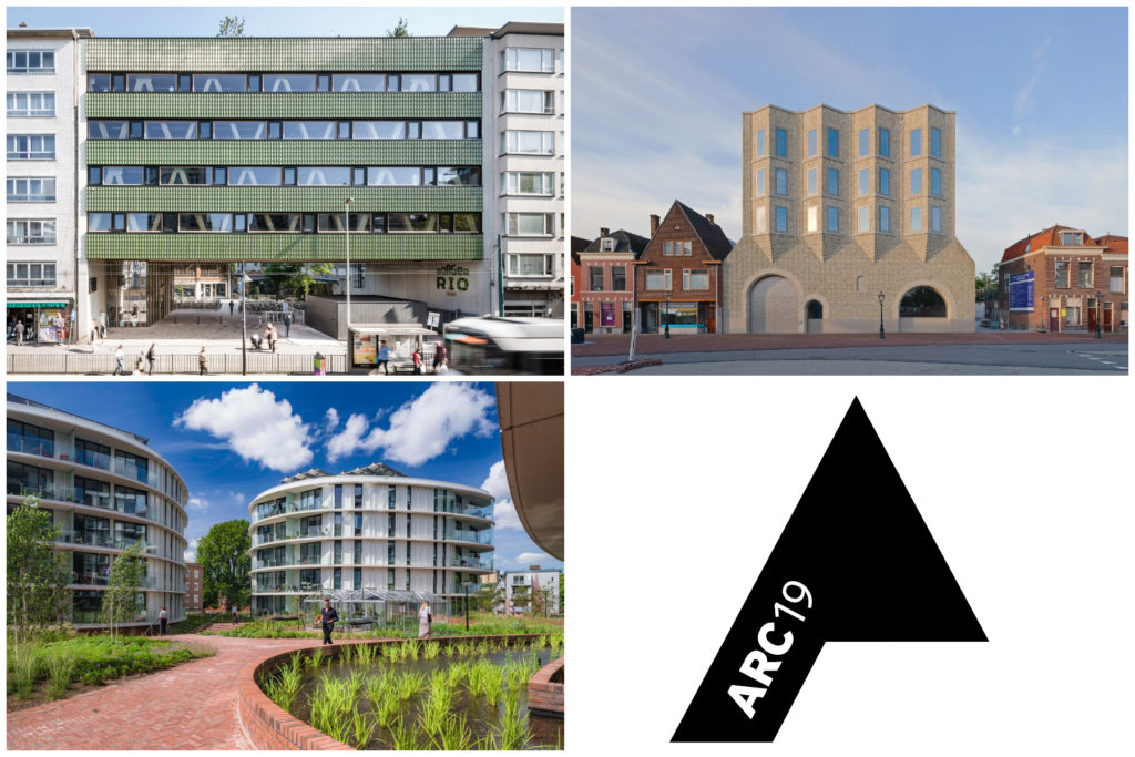 Nominaties ARC19 Architectuur Award (Mundo-a Antwerpen door B-architecten, Museum De Lakenhal Leiden door Happel Cornelisse Verhoeven en Julian Harrap Architects en Rhapsody in West Amsterdam door TANGRAM)