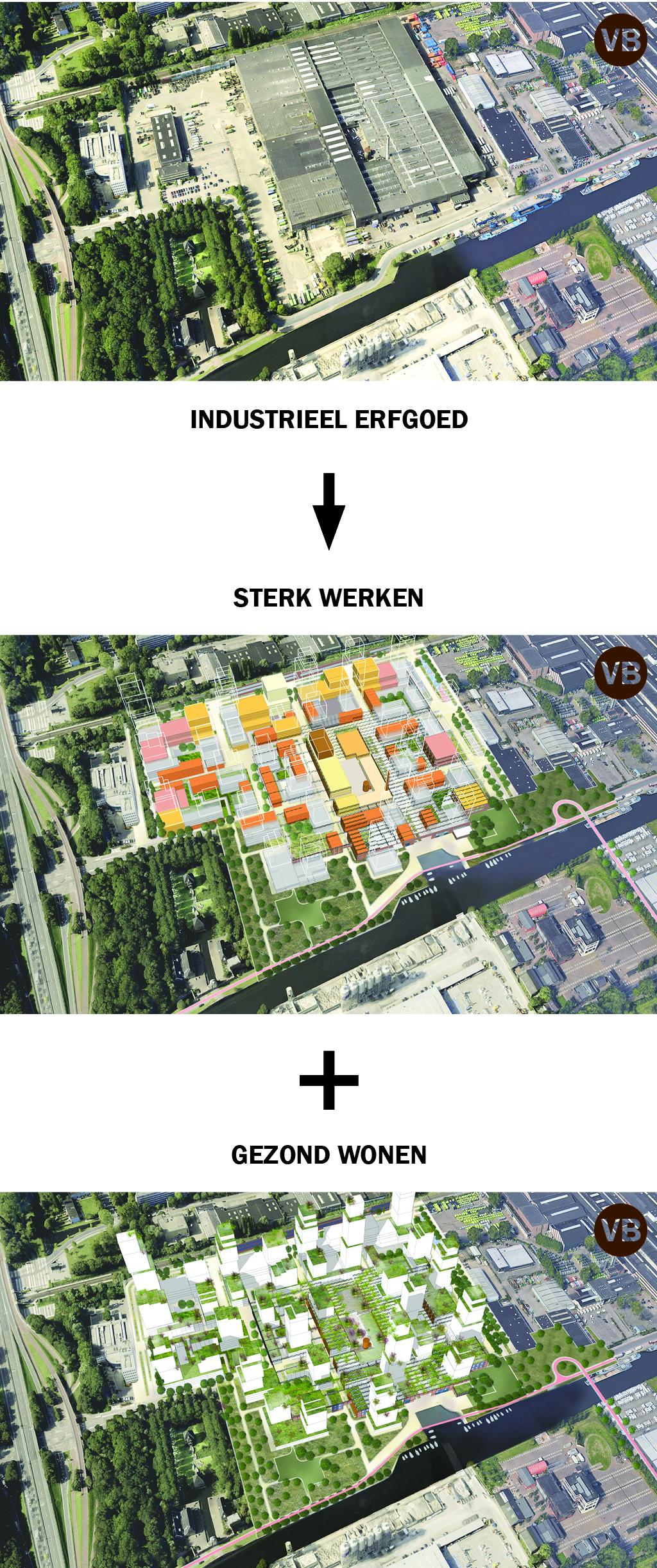 <p>Stedenbouwkundige voorbeelduitwerking van opbouw en menging</p>