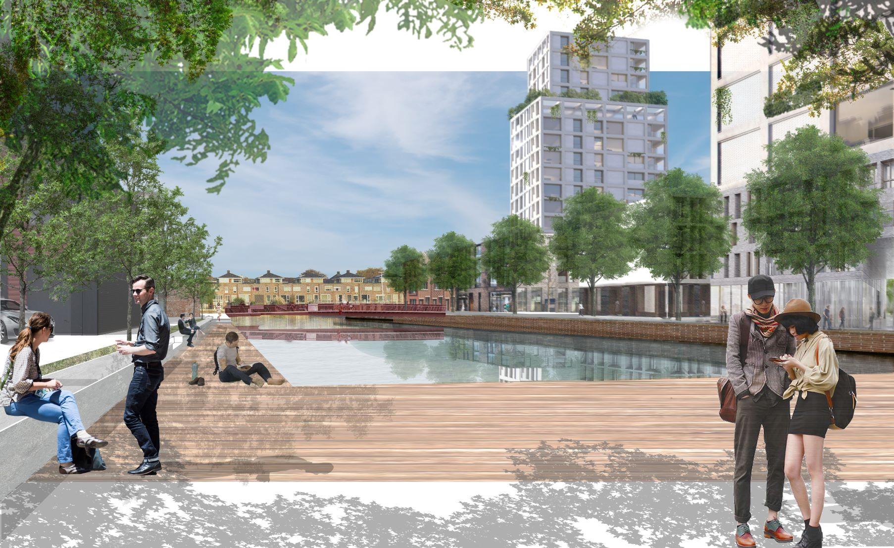 <p>Waterplein Lange Haven (beeld: studio Hartzema B.V.)</p>