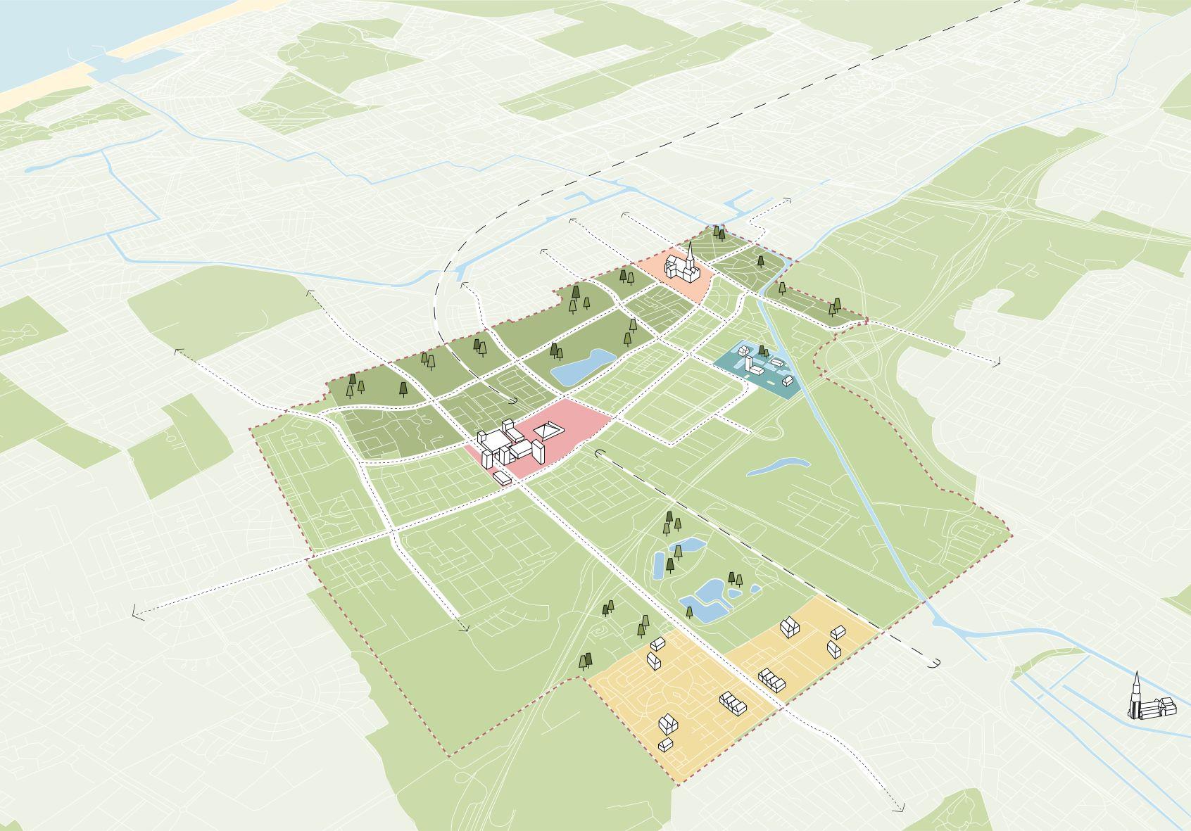 <p>Het Havenkwartier vormt samen met Oud Rijswijk, In de Bogaard en RijswijkBuiten een verdichting binnen de weelderig groene sfeer van Rijswijk (beeld: studio Hartzema B.V.)</p>