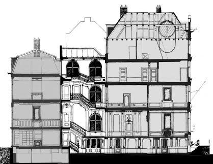 Doorsnede met principe van een historisch koopmanshuis