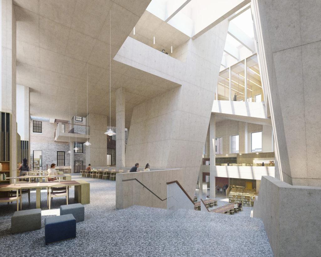 Interieur bibliotheek van Dublin door Grafton Architects. Beeld Grafton