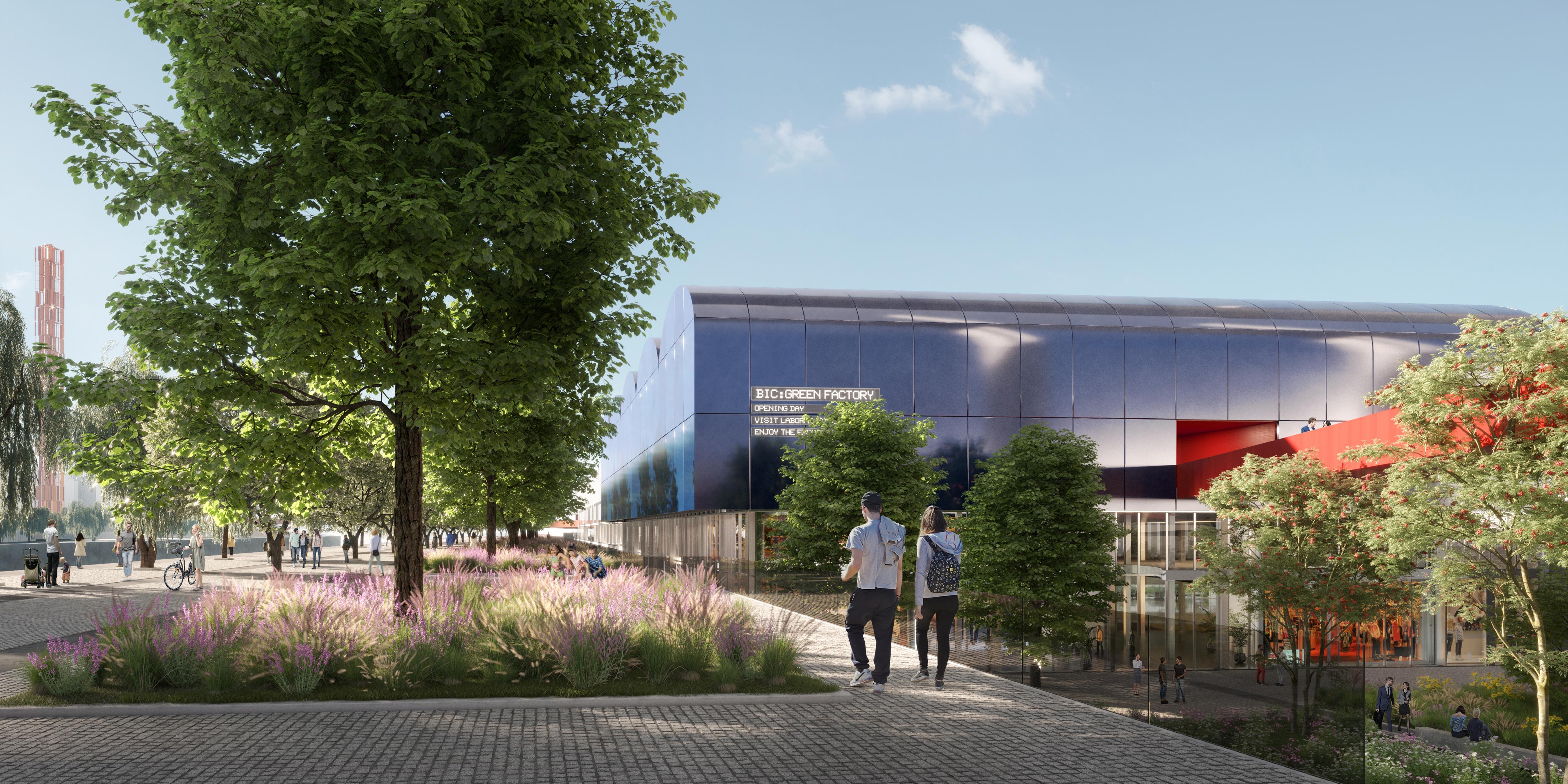 <p>De kade en het nieuwe plein Beeld © Renovatio design</p>