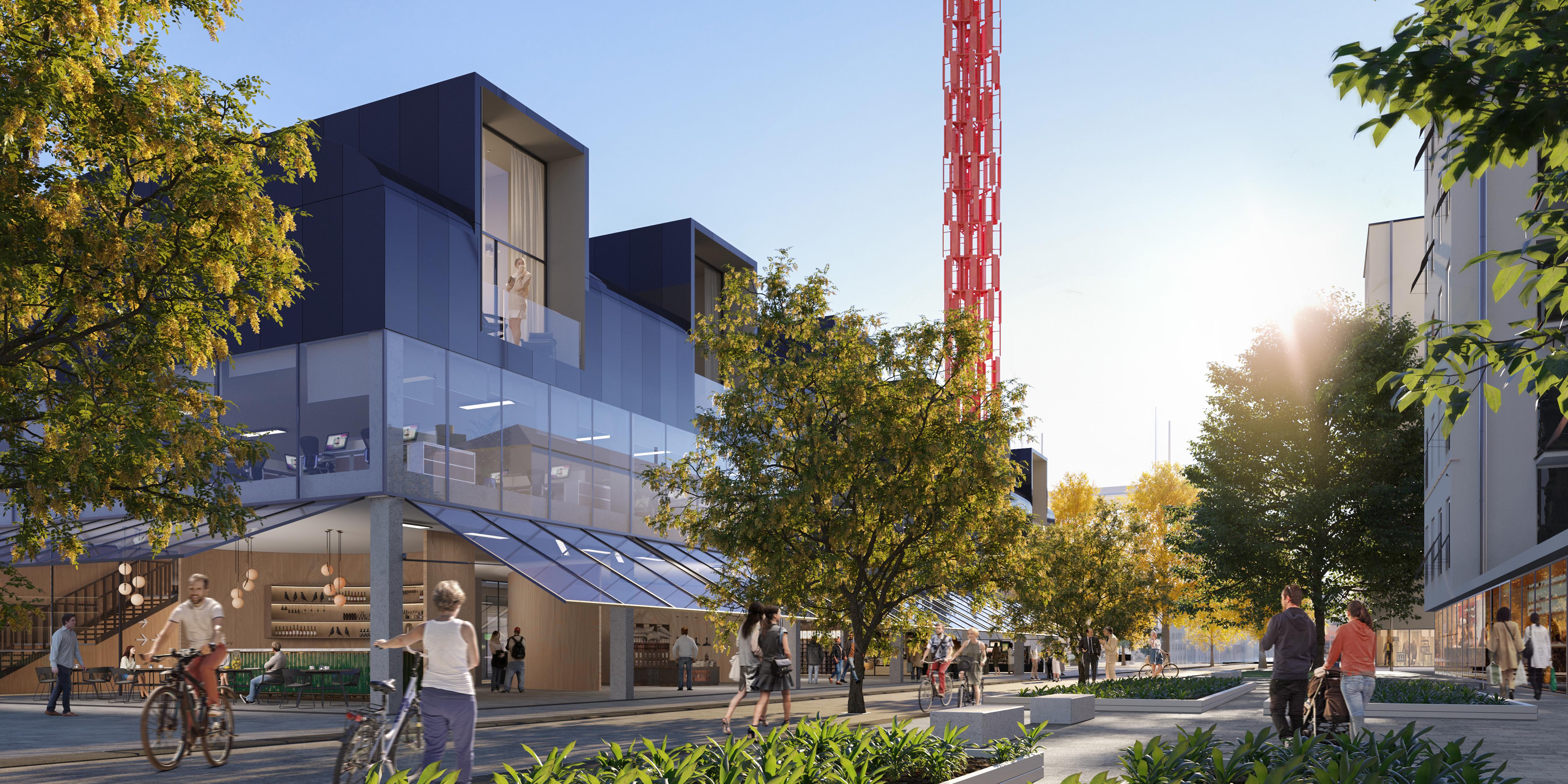 <p>De nieuwe buurtmarkt. Beeld © Renovatio design, courtesy by Metrogramma</p>