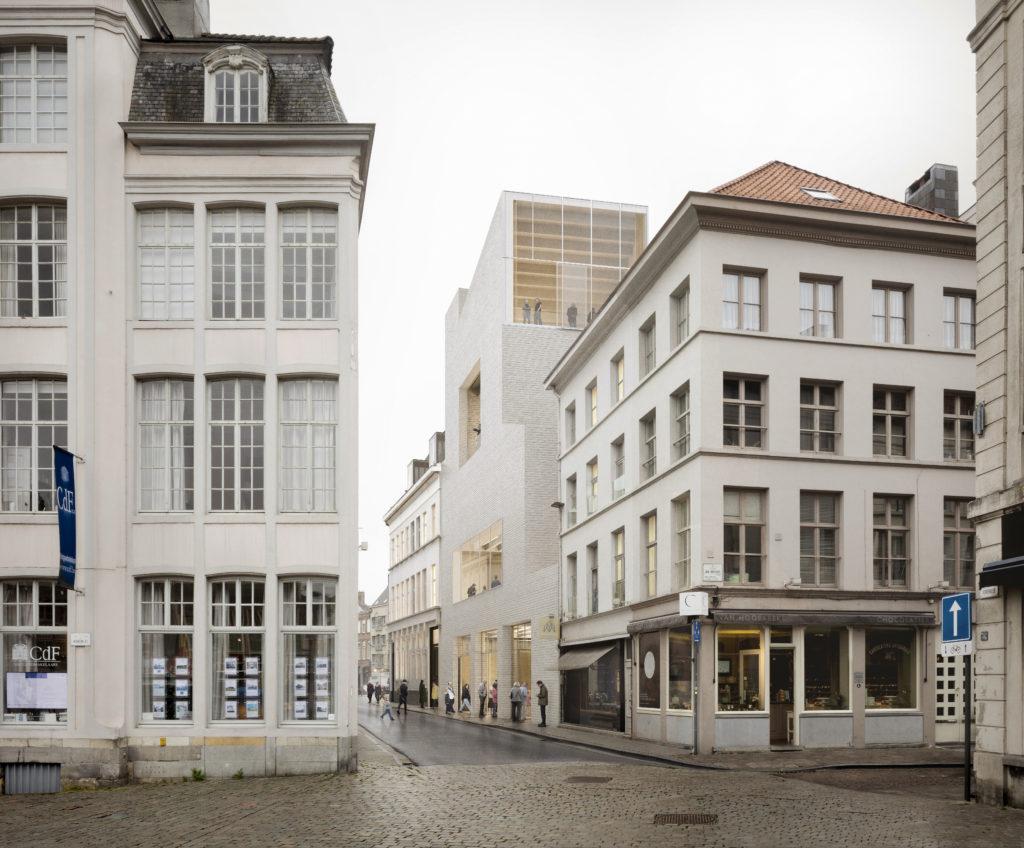 DING Gent - Een toekomstbeeld van de Drabstraat met de nieuwe vleugel © TRANS, Carmody Groarke en RE-ST