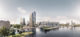 Feyenoord city masterplan rendering waterfront and new stadium close up view %c2%a9oma 2019 80x37