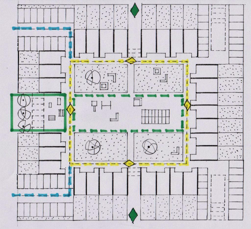 Plattegrond van het voorontwerp, met het drempelgebied van de hof (groene rechthoek), wandelgang van de hof (groen gestippeld), ontsluiting van woningen en groepen (geel gestippeld), tussendeuren (groene ruiten boven en onderaan de illustratie en gele ruiten in ontsluiting van woningen en groepen) en de perifere ontsluiting (blauwe stippellijn)