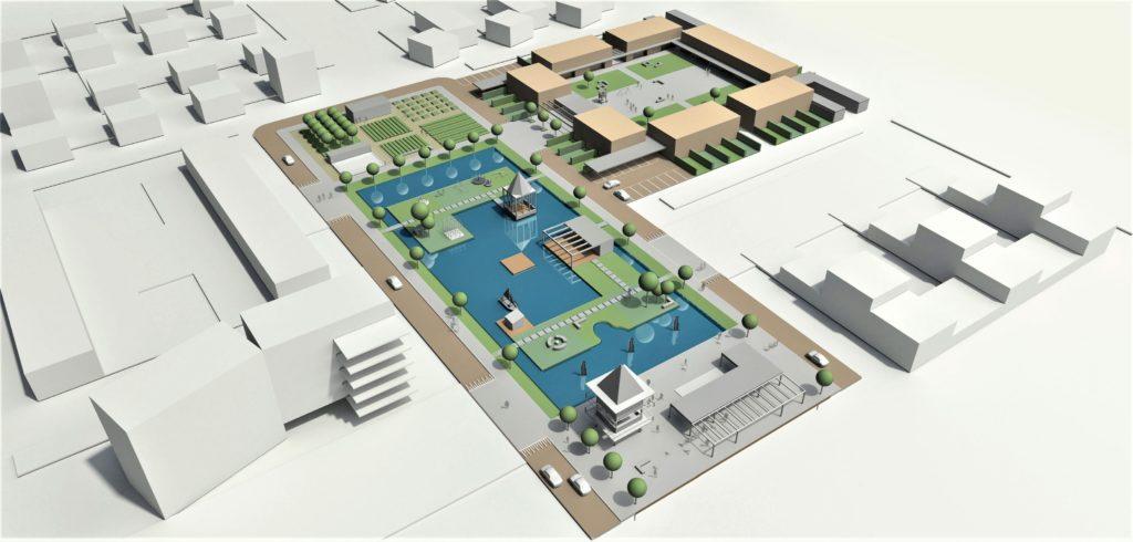 Voorontwerp, door Flip Krabbendam, voor de buurt (het rode veld) en een hof (een groen veld met gele velden). Beeld Yasser Hassan