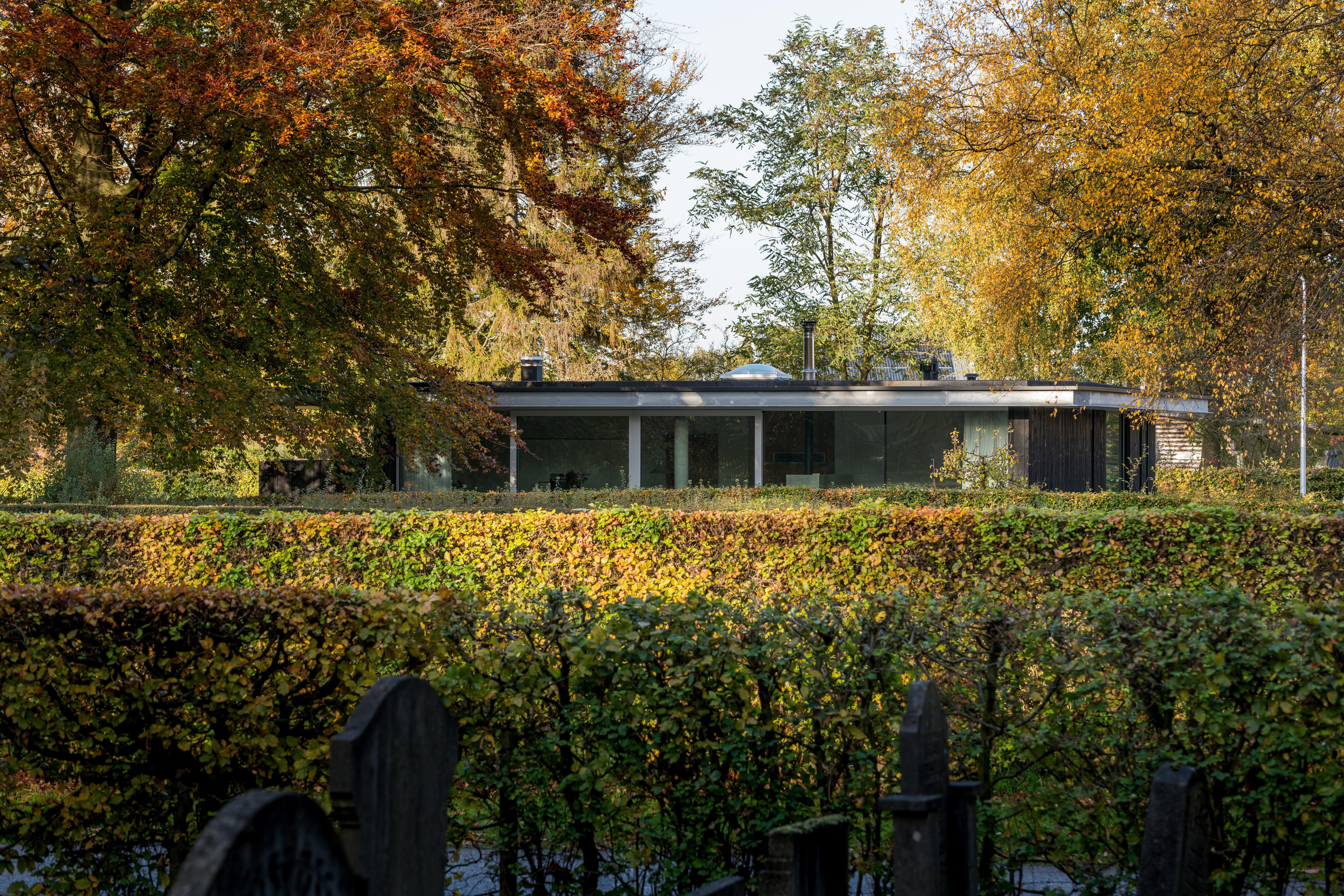 <p>Zicht op het achter beukenhagen gelegen huis vanaf de begraafplaats. Beeld Jan de Vries</p>