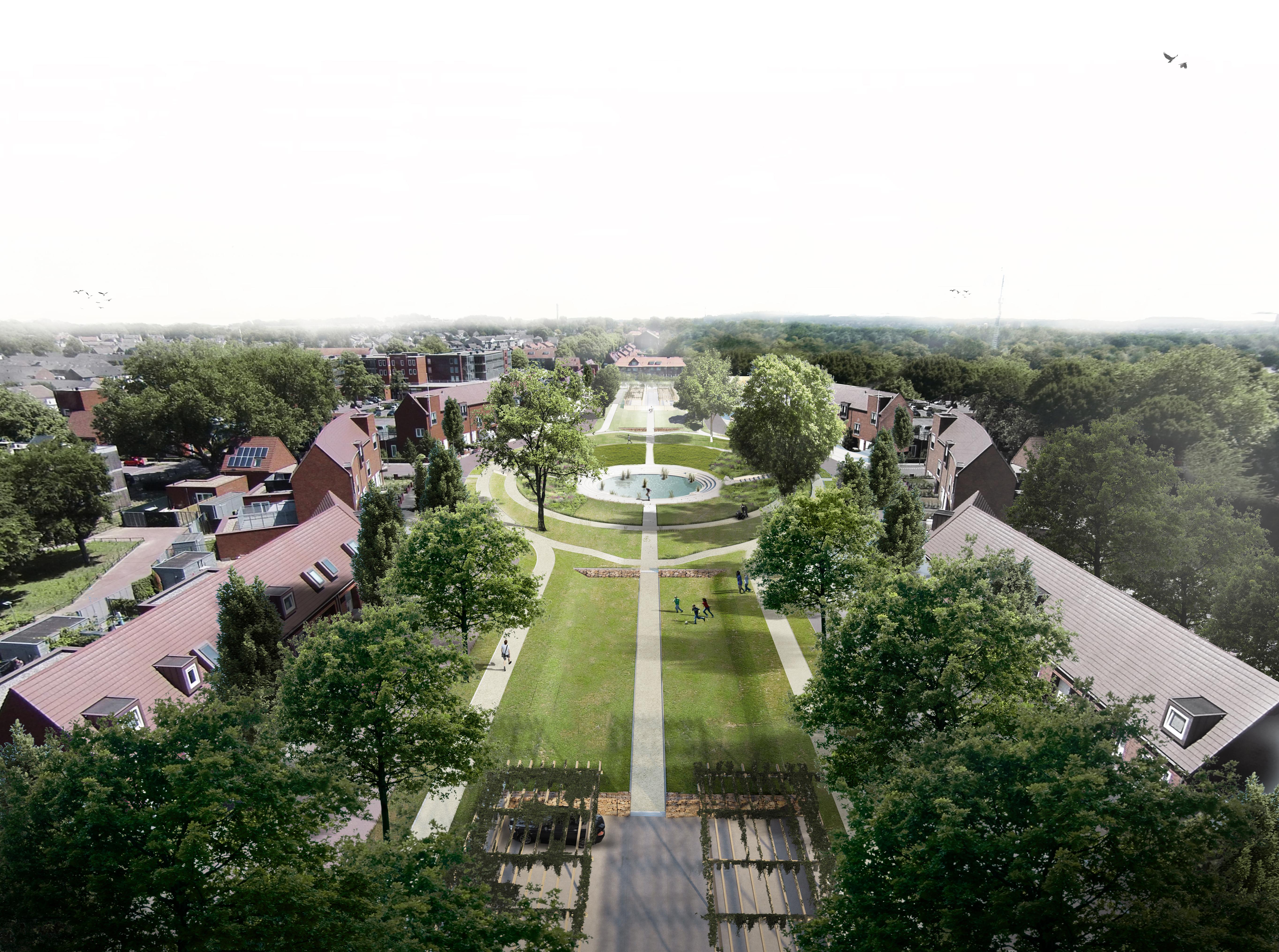 <p>Vogelvlucht van het Treebeekplein in  Brunssum, ontwerp Ziegler Branderhorst. Op de voorgrond de parkeerplaats, daarachter de speelvelden en de middenvijver</p>