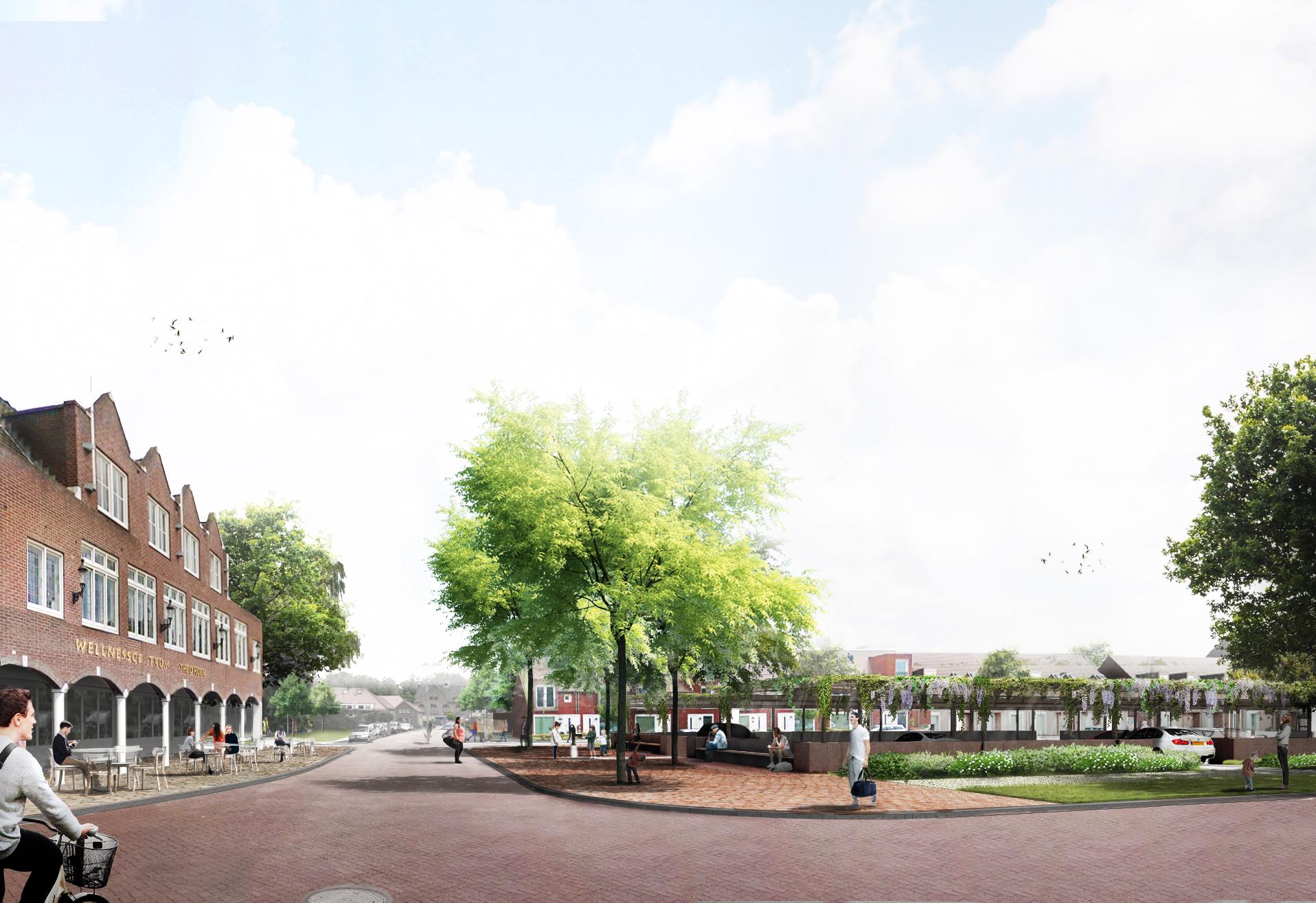 <p>Dorpsplein met het sportcentrum (links) en de verdiept gelegen parkeerplaatsen onder de pergola's (rechts)</p>