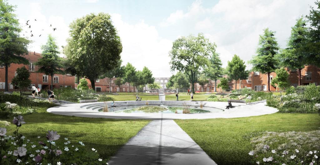 IBA Parkstad Treebeekplein Blauwedagplein met middenvijver en daaronder gelegen waterbuffer