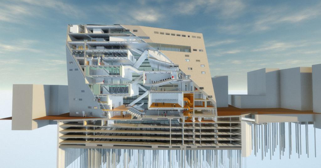 Benodigde aanpassingen van het Forum Groningen in 3D-model. Beeld ABT
