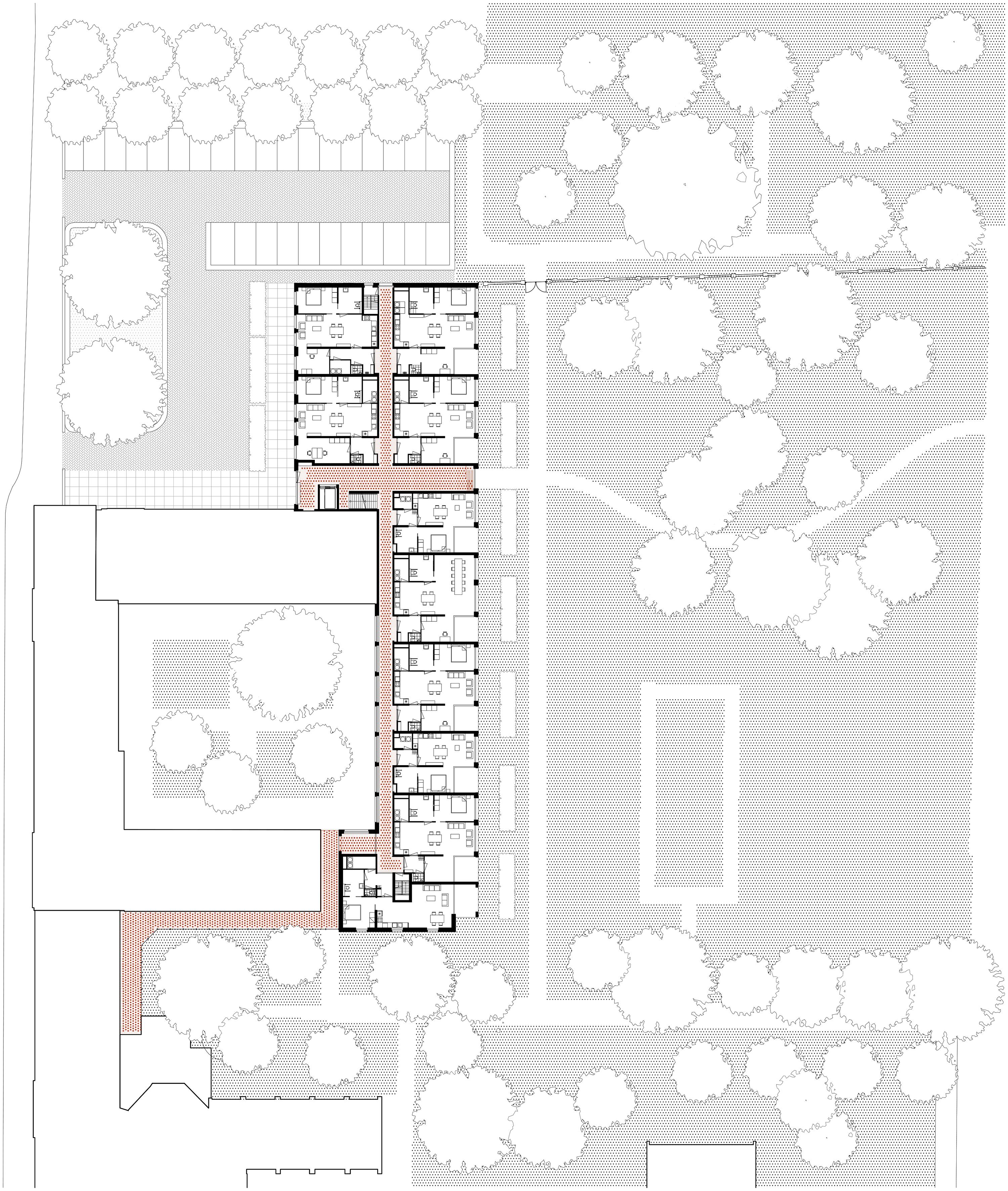 <p>Plattegrond  volledige blok Woongebouw 1 voor Klooster Oude Dijk te Tilburg door Shift</p>