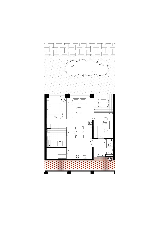 <p>Plattegrond appartement Woongebouw 1 voor Klooster Oude Dijk te Tilburg door Shift</p>